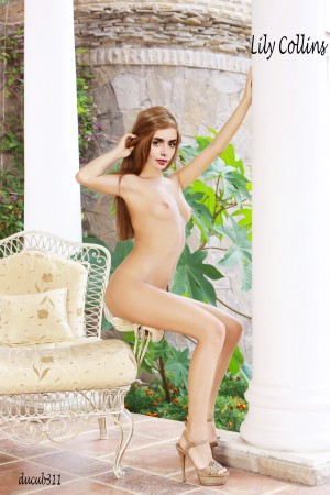 Lily Collins04.md Lily Collins Nude Shows her Sexy Boobs Fake