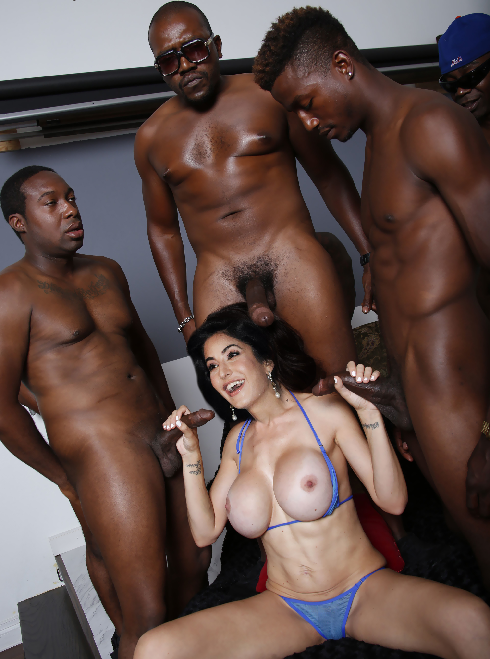 Japanese babe gangbanged by black men in front of her