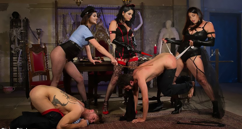 Sadistic voluptuous lesbian dyke bondage mistress